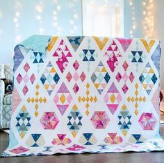 Floating Diamonds Quilt Kit by using Joel Dewberry's Wander collection by Free Spirit. I made this quilt and love it. Sampler Quilts, Scrappy Quilts, Mini Quilts, Nancy Zieman, Tim Holtz, Modern Quilting Designs, Quilt Modern, Contemporary Quilts, Quilt Kits For Sale