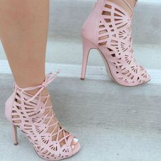 Perforated Lace Up Peep Toe Heels – Shoes Fashion & Latest Trends Fancy Shoes, Unique Shoes, Pretty Shoes, Hot Shoes, Crazy Shoes, Beautiful Shoes, Me Too Shoes, Cute Heels, Lace Up Heels