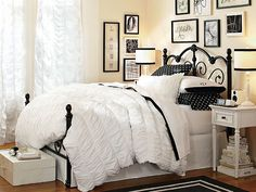 I love the PBteen Amanda Black + White Bedroom on pbteen.com
