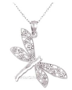 14k White Gold Dragonfly Necklace made in the U.S.