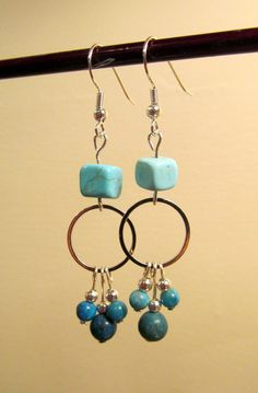 Turquoise and Silver Earings by HolderFineArtStudio on Etsy