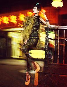 "Monika Jagaciak by Greg Kadel in ""Chinatown"" for Numéro December 2010 via modelsdot High Fashion Photography, Light Photography, Street Photography, Flash Photography, Greg Kadel, Fashion Night, Punk Fashion, Street Fashion Shoot, Neon Nights"