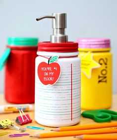 Sanitizer Teacher Gift Hand Sanitizer Teacher Gift - Turn back-to-school mason jars into hand sanitizer soap dispensers.Hand Sanitizer Teacher Gift - Turn back-to-school mason jars into hand sanitizer soap dispensers. Back To School Gifts For Teachers, Back To School Crafts, Mason Jars, Mason Jar Crafts, Teacher Christmas Gifts, Teacher Gifts, Teacher Gift Baskets, Teacher Appreciation Week, Hand Sanitizer