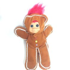 Troll Doll Russ Berrie Gingerbread 9 Inch Pink Hair Belly Button Dimpled Knees  #RussBerrie #DollswithClothingAccessories