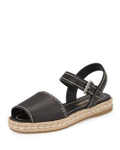 S09SA Prada Double-Band Flat Espadrille, Black