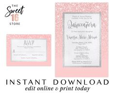 Pink Glitter Quinceanera Invitation and Response Card Instant Download, With Court of Honor Template, Quinceañera Party Invitation Digital Sweet Sixteen Invitations, Pink Invitations, Birthday Invitations, Text Message Invitations, Invitation Text, Invite, Quinceanera Invitations, Quinceanera Party, Sweet 16 Birthday