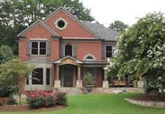 Image result for stone front porch brick house