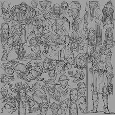 Sketch Dump 01, Hue Teo on ArtStation at https://www.artstation.com/artwork/XrxbL
