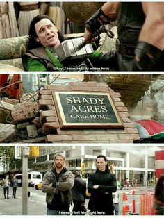 I just realized that is the name of the retirement home in Up! Disney owns Marvel which owns Pixar << um the one in Up is shady oaks. Also Marvel doesn't own Pixar; Pixar is a partner which Disney (and Disney owns part of it). Loki Marvel, Marvel Jokes, Funny Marvel Memes, Dc Memes, Avengers Memes, Loki Thor, Memes Humor, Marvel Dc Comics, Marvel Heroes