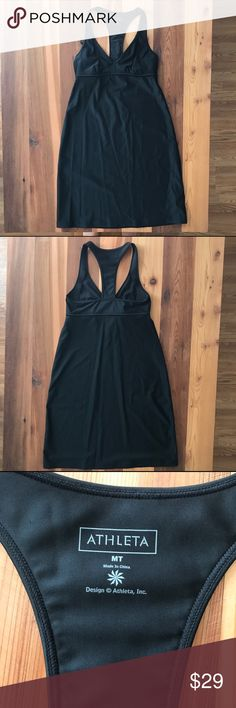 Athleta Shorebreak Dress in Black The über-flattering empire waist dress that turns any beach into a party with sleek swim fabric.  BUILT-IN SUPPORT. Innovative sling design lift and supports the girls like individuals Empire waistline looks great on different body types Nylon/Spandex LYCRA® XTRA LIFE™ SPANDEX. Ultra-resilient fabric snaps back like a pro and lasts 5-10x longer BREATHABLE. Sweat can travel through the fabric so it can evaporate on the surface RATED UPF 50+ EUC from a smoke…
