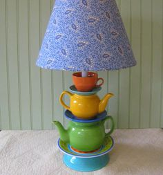 Teapot Lamp Yellow Blue Green Orange Teapots Tea Cup and Saucers, Alice in Wonderland  Beach Cottage