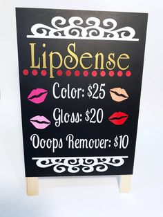 Lipsense pricing sign. Lipsense vendor display. Lipsense distributor. Lipsense holder. Lipsense display sandwih board. Easel display sign. by CraftyCassondra on Etsy https://www.etsy.com/listing/522463224/lipsense-pricing-sign-lipsense-vendor  #lipsense