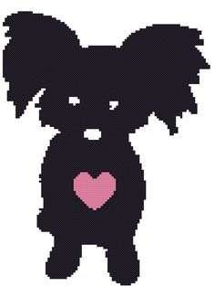 e19fc6388a5ed Papillion Butterfly Dog Silhouette with Heart Cross Stitch Pattern Graph  Tutorial Instant Download by AmericanPooch on Etsy