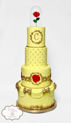 Beauty and the Beast baby shower cake!  #beautyandthebeastcake #batbcake #batbweddingcake #beautyandthebeastweddingcake #bellecake #bellebabyshowercake #belleweddingcake #beautyandthebeastbabyshowercake #goldbowscake #goldbowcake #goldaccentcake #peggydoescake