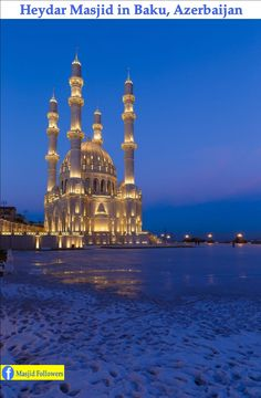 Heydar mosque, Baku, Azerbaijan Old Architecture,architecture ideas architecture. Islamic World, Islamic Art, Beautiful Mosques, Beautiful Places, Beautiful Scenery, Mekka Islam, Places To Travel, Places To Visit, Mosque Architecture