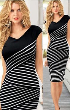 Striped Design Slim Fit Black And White Dress