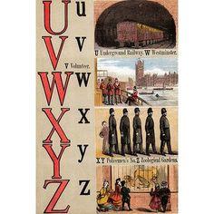 Buyenlarge 'U, V, W, X, Y, Z Illustrated Letters' by Edmund Evans Graphic Art