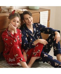 long sleeves cute cotton pajama sets for couple lovely comfy cotton pj sets for spring Couple Pajamas, Girls Pajamas, Pajamas Women, Cotton Sleepwear, Cotton Pyjamas, Sleepwear Women, Womens Pjs, Womens Pyjama Sets, Matching Couple Outfits
