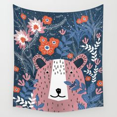 Bear Garden Wall Tapestry. #painting #ink #digital #illustration #animals #animal #bear #floral #folk #humor #flowers #surreal #whimsical #pop-art #comic
