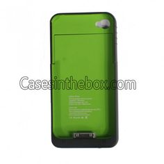 iPhone 4 Ultra Slim 1900mAh External Backup Battery Case Black Green with Power Residual Light   USB Cable