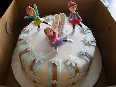 Ice Skate Cake. Chocolate cake w chocolate SMBC. Edible girls and skates