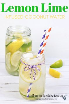 Don't be afraid to make fruit infused coconut water drinks at home. This lemon Lime water recipe is a simple and refreshing chilled drink you can make in minutes. Mason Jar Drink Dispenser, Mason Jar Drinks, Infused Water Recipes, Fruit Infused Water, Lemon Lime Water, Coconut Water Drinks, Strawberry Lemonade Punch, Punch Recipes, Drink Recipes