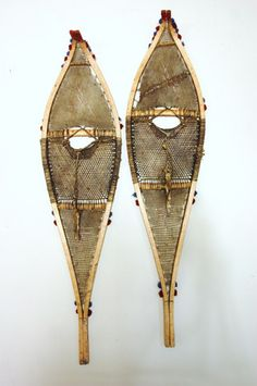Western Subartic Vintage Indian Snowshoes. Poss. Anishinaabe (Saulteaux), 1890-1920.