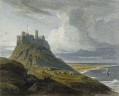 Holy Island Castle 1810 Wood Print by Varley John. All wood prints are professionally printed, packaged, and shipped within 3 - 4 business days and delivered ready-to-hang on your wall. Choose from multiple sizes and mounting options. Landscape Paintings, Watercolor Paintings, Watercolours, Dunstanburgh Castle, Castle Painting, Northumberland England, Caspar David Friedrich, Art Database, Medieval Castle