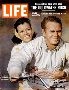 Naturally, when avid motorcyclist and racer McQueen poses for a June 1963 LIFE magazine cover shoot, it's on a bike. Holding on behind him is his wife, actress Neile Adams. Life Magazine, Star Magazine, History Magazine, Steve Mcqueen Wife, Steeve Mcqueen, Life Cover, Tv Guide, Movie Stars, My Idol