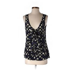 Pre-owned Tory Burch Sleeveless Silk Top featuring polyvore, fashion, clothing, tops, sleeveless tank tops, black silk tank, silk tank top, black tank and black sleeveless top