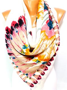 Scarf, Shawl, Scarves, Feather Printed Scarf, Peacock Scarf, Wing Scarf, Boho Scarf, Ethnic Scarf, Women's Fashion Accessories, Gift for Her - pinned by pin4etsy.com