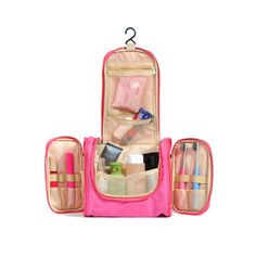 KevenAnna Hanging Men Toiletry Bag Portable Travel Toiletry Bag for Women Hanging Toiletry Kit Organizer for Travel Accessories and Toiletries (Pink) -- Click on the image for additional details. (This is an Amazon Affiliate link and I receive a commission for the sales)