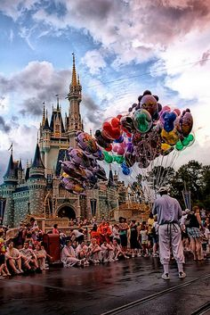 Disney - Main Street Balloons In Front of the Castle by Express Monorail, via Flickr