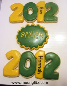 Graduation cookies—adorable! Sic 'em Baylor Bears! Wish I had seen these for David's g'party.