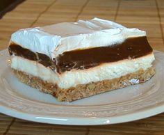 "Mud Pie - This dessert is a tradition in our family for Thanksgiving, but grandma always called it ""Mattie Lou"" and you use the cooked chocolate pudding instead of the instant for firmness - yum-yum"