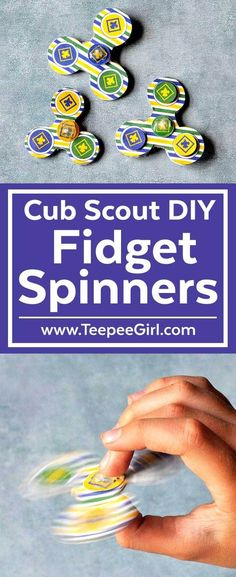 This Cub Scout DIY Fidget Spinner is the perfect craft activity or gift for all the cub scouts out there Make these fidget spinners in den meetings or give them as gifts. Cub Scout Law, Cub Scouts Wolf, Beaver Scouts, Tiger Scouts, Girl Scouts, Cub Scout Skits, Cub Scout Games, Cub Scout Activities, Craft Activities
