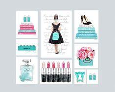 Large, le mode collage, ensemble de 9, illustration de mode, art de la mode, art mural, dortoir, collection, Audrey, parfum, turquoise, bleu, aquarelle, cadeau