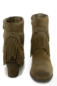 Sbicca Patience Khaki Suede Leather Fringe Boots