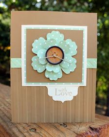 Stampin' Up! ... handmade card fromAnnMarie's Stamping Adventures!! ... kraft and mint ... delightful layered flower punched from polka dot paper ... wooden button center with linen thread ... embossing folder wide stripes texture on lower half ... like the main panel matting with two widths and one using the same polka dot paper as the flower ... beautiful!