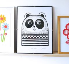 New Happy Panda screen print by Jane Foster children's hand pulled wall art signed
