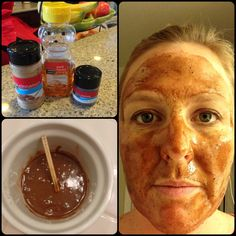 AMAZING FACE MASK.  1 Tablespoon Honey 1/2 teaspoon cinnamon 1/2 teaspoon nutmeg MIX & cover all over face. Let sit for 30 mins before washing!!  Helps with acne and redness & puffiness.