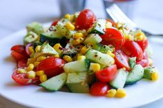 Tomato, Corn, and Avocado Salad | adoubledose.com