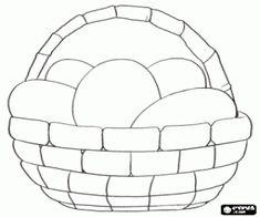 desenho de Cesto cheio de ovos prontos para pintá-las e transformá-los em ovos de Páscoa