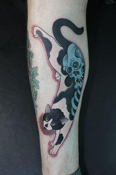 Skeleton Monmon Cat Tattoo by Horitomo