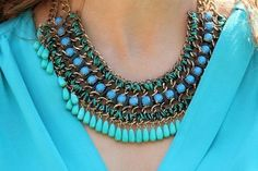 Weave Necklace Gold Turquoise Necklace Zara by Instyleglamour