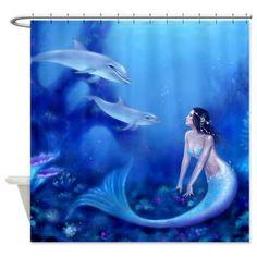 Ultramarine   Mermaid U0026 Dolphin Art Shower Curtain   Art By Rachel Anderson  Http:/