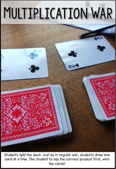 Multiplication War Fun Math Game That Only Requires A Deck Of Cards. Should Also Be Possible With Addition And Subtraction. Math Tutor, Teaching Math, Math Education, Fun Math Games, Math Activities, Math Games With Dice, Homework Games, Learning Games, Math Multiplication