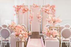 WedLuxe Magazine Think Pink Wedding Reception Backdrop, Wedding Stage, Wedding Ceremony, Event Planning Design, Event Design, Wedding Planning, Backdrop Decorations, Backdrops, Wedding Decorations