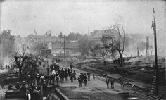 VANCOUVER GOES UP IN SMOKE - The Great Fire of 1889 destroyed much of downtown Vancouver, burning several businesses. This scene is looking northeast from the vicinity of Third and Main streets. Vancouver Washington, Downtown Vancouver, The Great Fire, Clark County, Up In Smoke, Old Images, Model Trains, Main Street, Historical Photos