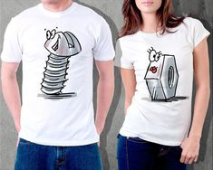 funny couple set tshirts shirt bolt nut cotton gift by GlassForUs